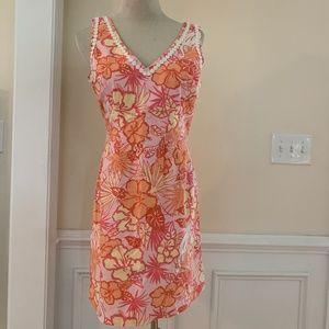 Lilly Pulitzer Pink Orange Floral Shift Tank Dress